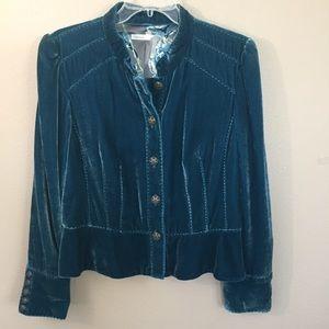 Classiques Entier teal velvet jacket lined SZ. L